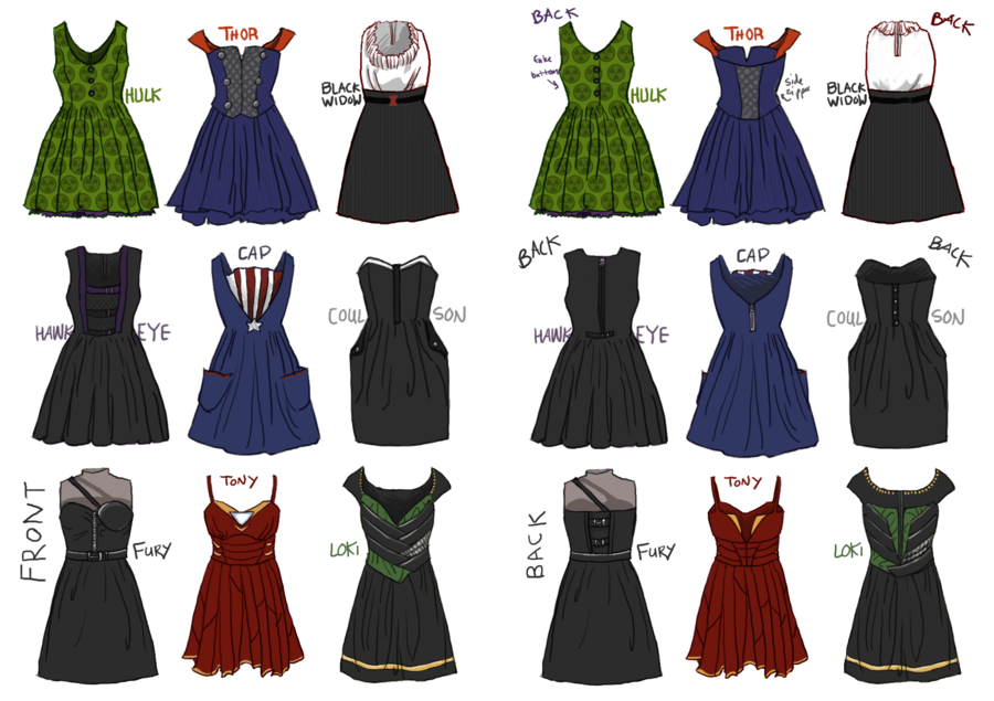 avengers_dresses_by_robinade d58cn7w marvel archives demetria spinrad,Womens Clothing 2000s